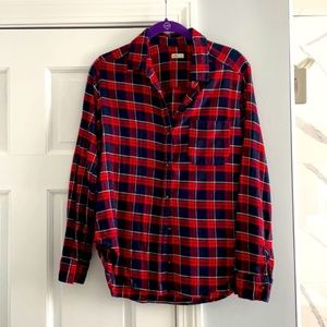 NWOT Hollister Red and Blue Plaid Flannel Top